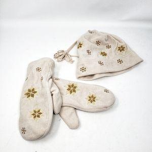 Outbrook | Beige Tan Snowflake Hat & Mittens Set